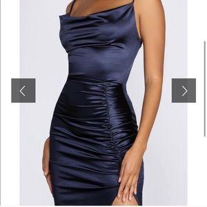Windsor Navy Blue Satin Midi Dress